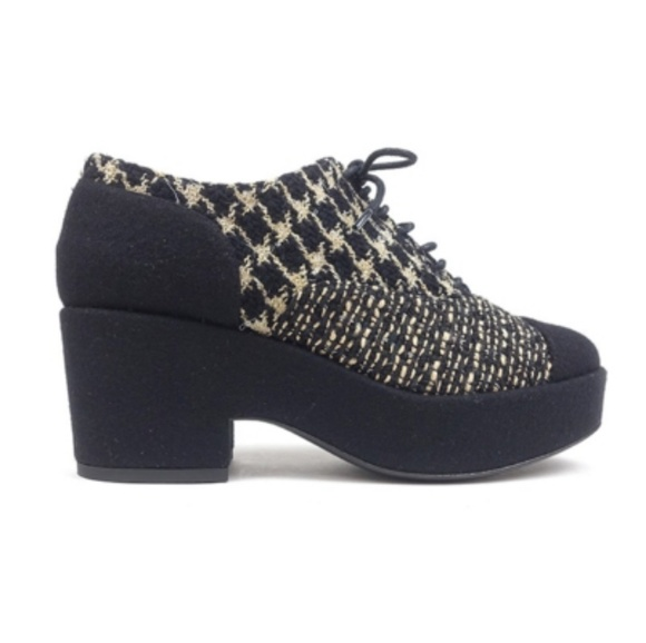 4cad6c05a974 Chanel Tweed Lace Up Platform Shoes Coco Mark Blac